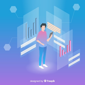 Isometric business technology with man on tablet
