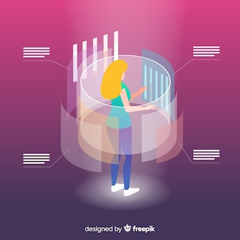 Изометрические бизнес-технологии с женщиной на проекционном экране