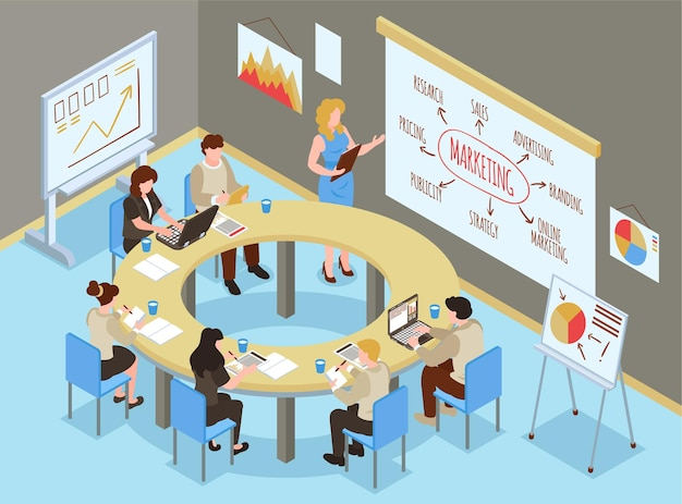 Isometric business training hall composition with indoor office scenery and group of people learning marketing skills