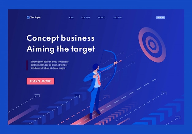 Isometric businessman aiming at the target, business concept