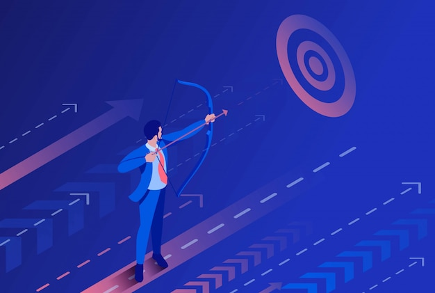 Isometric businessman aiming at the target, business concept.