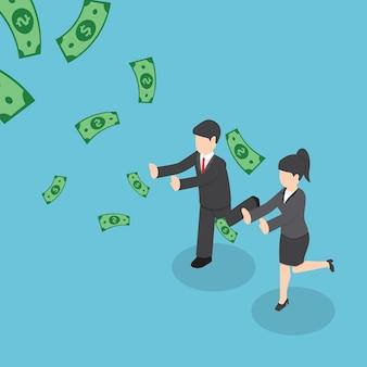 アイソメトリックのビジネスマンは、ドルのお金を落ちる