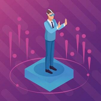 Isometric businessman digital purple