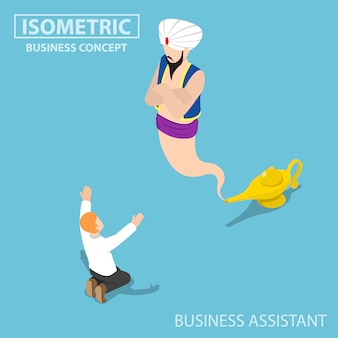 Isometric businessman and genie giant in the magic lamp