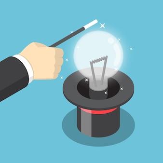 等尺性のビジネスマンの手は、帽子からアイデアの電球を作るために魔法のトリックを使用しています。アイデアのコンセプト。