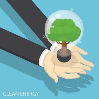 Isometric businessman hands holding eco friendly light bulb