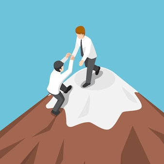 Isometric businessman help each other climb to the top of mountain