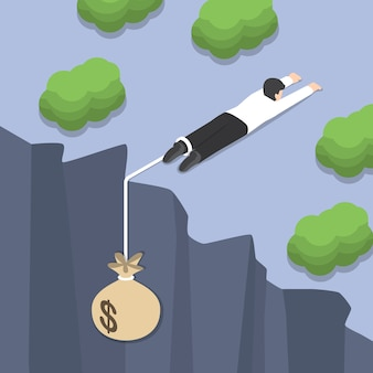 Isometric businessman holding on the cliff edge with money bag tied on his leg