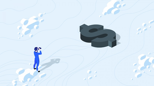 Isometric businessman looking for money with binocular.