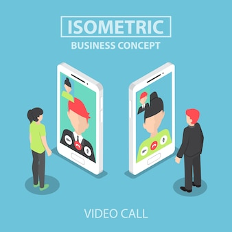 Isometric businessman make video call with his colleague on smartphone