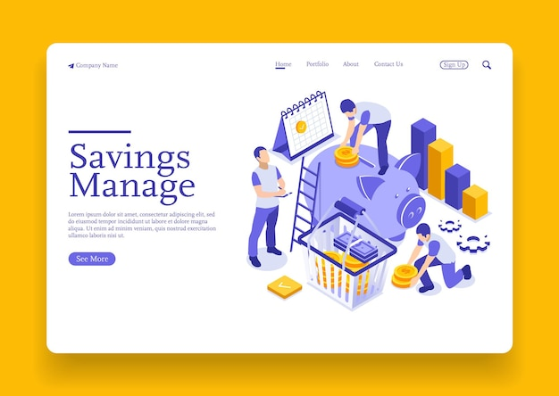 Isometric businessman putting a coin into a piggy bank save money concept manage money and finance