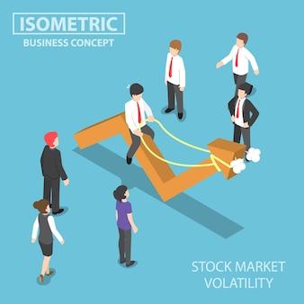 Изометрические бизнесмен верхом на пугливом графике фондового рынка