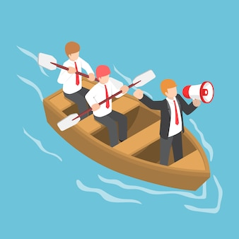 Isometric businessman in rowing team with leader command and control through a megaphone