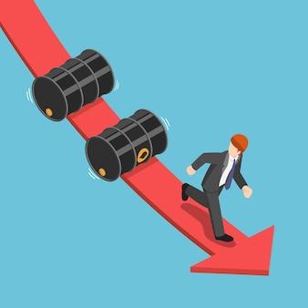 Изометрический бизнесмен убегает от падения нефтяных бочек на красной графе