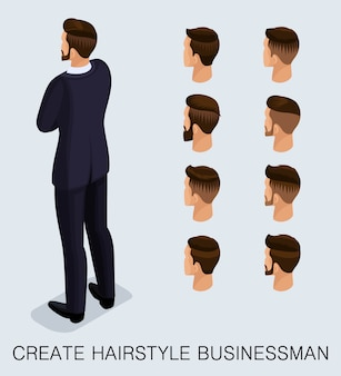 Isometric businessman set