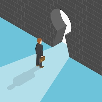 Isometric businessman standing in front of big keyhole
