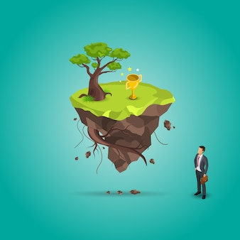 Isometric businessman standing in front of mountain and tree with trophy above,