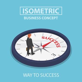 Изометрические бизнесмен, стоя на компасе, который указывает на успех