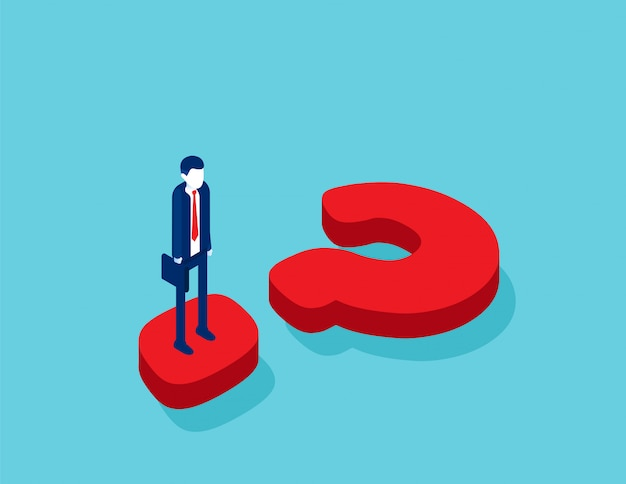 Isometric businessman standing on question mark