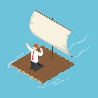 Isometric businessman stranded on wooden raft