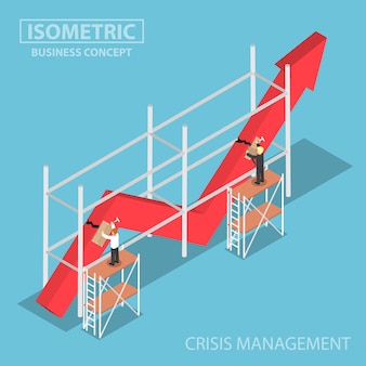 Isometric businessman trying to fix broken graph