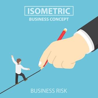 Isometric businessman walking on drawn line