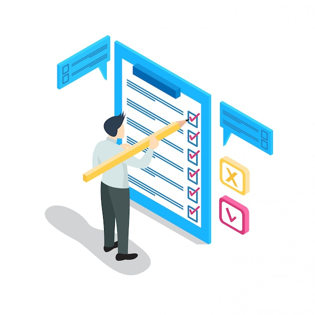 Isometric businessman with checklist