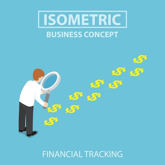 Isometric businessman with magnifying glass looking a trail of dollar