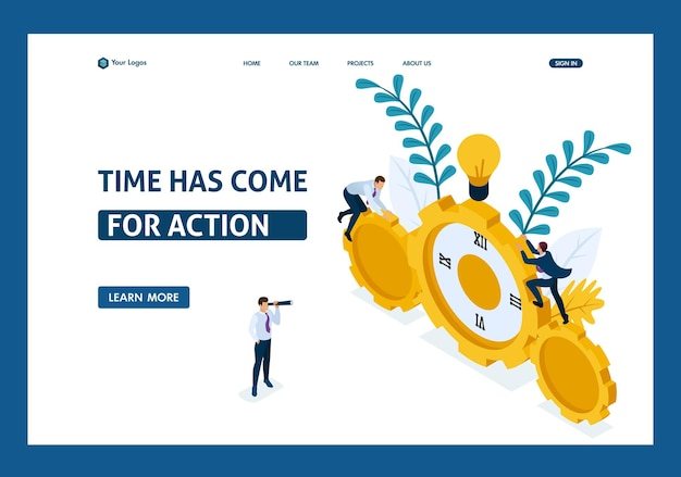 Изометрические бизнесмены поднимаются по часам, сотрудничество для достижения успеха. целевая страница шаблона веб-сайта.