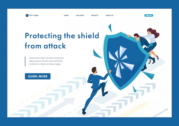 Isometric businessmen hiding behind a shield from attack landing page