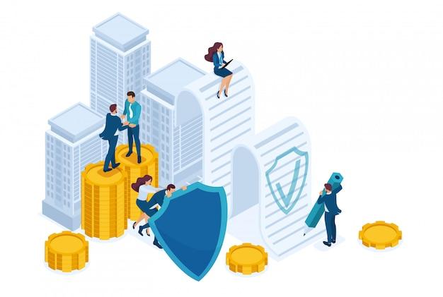 Изометрические бизнесмены страхуют свои активы, инвестиции и акции, щит.