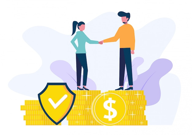 Isometric businessmen insure their assets, investments and shares, shield.