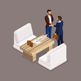 Isometric businessmen, negotiations, business meeting, the negotiating table