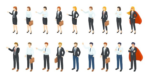 Isometric businessmen. office employee 3d characters, different men and women standing sitting and communicating. professional workers illustration set