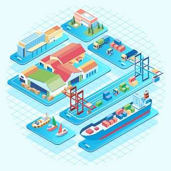 Isometric busy traffic in the port where goods go in and out container carrier ships and container