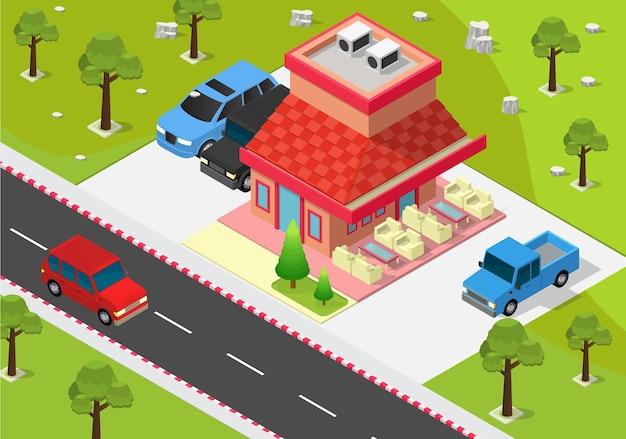 道路と木々と等尺性のカフェの建物
