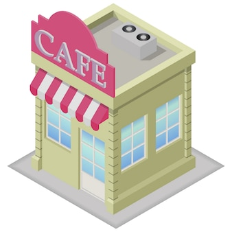 Isometric cafe building