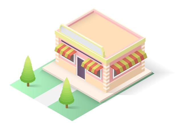 Isometric cake or bakery shop building isolated on white background