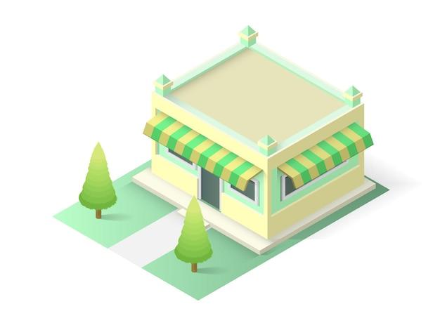 흰색 배경에 고립 된 아이소메트릭 케이크 또는 빵집이 게 건물