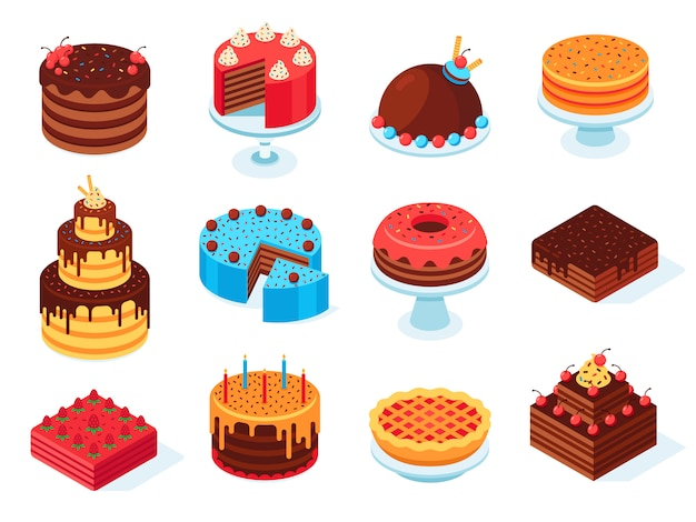 Isometric cakes, chocolate cake slice, delicious sliced birthday pie and tasty pink glaze cake isolated 3d  set