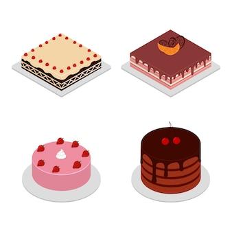 さまざまな形の等尺性ケーキ。チェリー、イチゴのケーキ。チョコレートケーキのスライス、おいしいスライスしたバースデーパイ、おいしいピンクのグレーズケーキ。