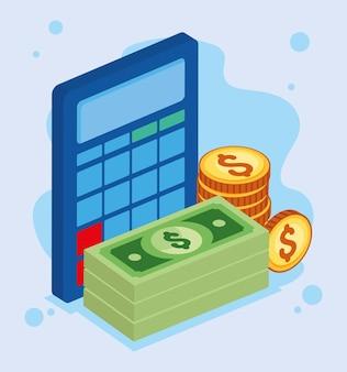 Isometric calculator with money