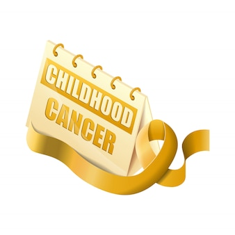 Isometric calendar childhood cancer world day witch golden ribbon isolated