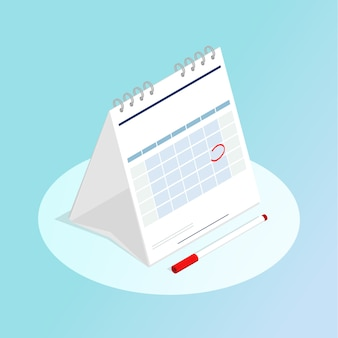 Isometric calendar red marked vector