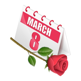 Isometric calendar women's day with flower rose