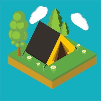 Isometric camp, flat 3d isometric pixel art. illustration.