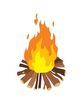 アイソメトリックキャンプ。ハイキングの色付きのシンボル。ツール属性またはキャンプ機器の要素を持つアイコン。焚き火はベクトル図を分離しました。
