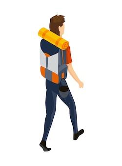 等尺性キャンプ。ハイキングの色付きのシンボル。ツールの属性またはキャンプ用品の要素が付いたアイコン。山のバックパックの分離ベクトル図を持つ男