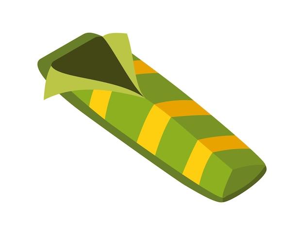 等尺性キャンプ。ハイキングの色付きのシンボル。ツール属性またはキャンプ機器の要素を持つアイコン。寝袋分離ベクトル図