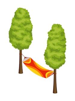 アイソメトリックキャンプ。ハイキングの色付きのシンボル。ツール属性またはキャンプ機器の要素を持つアイコン。 2本の木の間に張られた寝袋はベクトル図を分離しました。